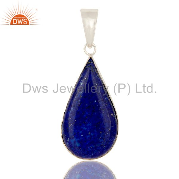 925 Solid Sterling Silver Natural Lapis Lazuli Bezel Set Gemstone Drop Pendant