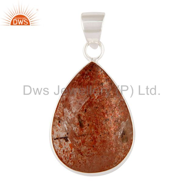 Natural Sunstone Gemstone Pendant Handcrafted 925 Sterling Silver Jewelry