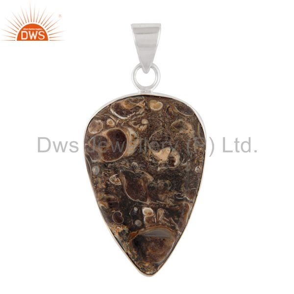Handmade Natural Turritella Agate Gemstone 925 Sterling Solid Silver Pendant