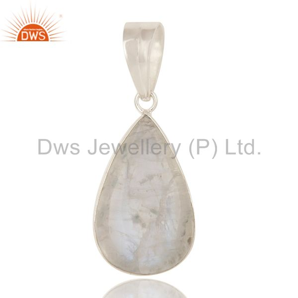 925 solid sterling silver natural rainbow moonstone bezel set pendant