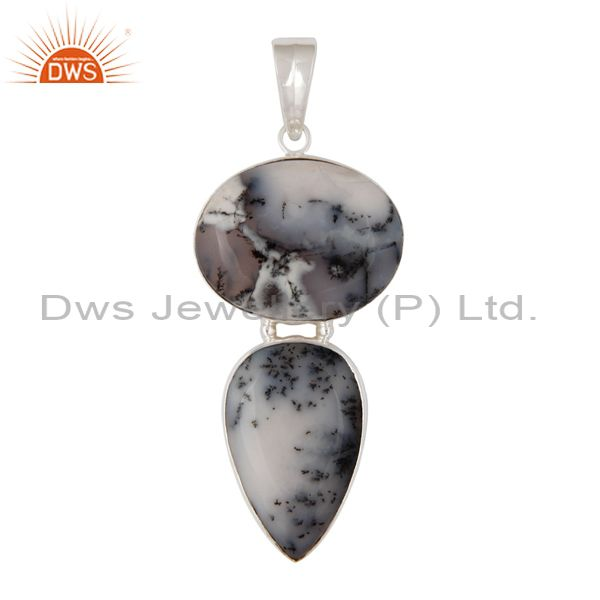 Natural Dendritic Opal Gemstone Solid 925 Sterling Silver Handmade Pendant
