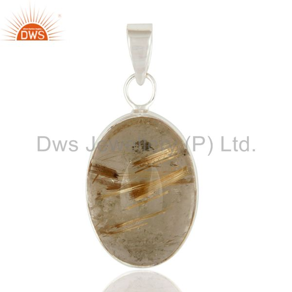 Bezel-Set Rutilated Quartz Gemstone Pendant Fine 925 Sterling Silver Jewelry