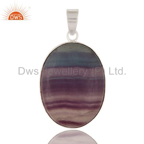 Handmade Natural Rainbow Fluorite Gemstone 925 Solid Sterling Silver Pendant