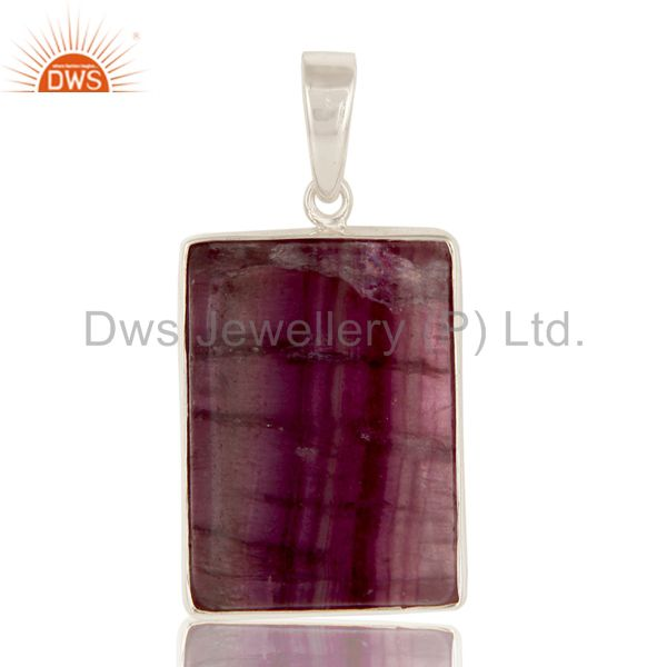 Handmade 925 Solid Sterling Silver Natural Rainbow Fluorite Bezel Set Pendant