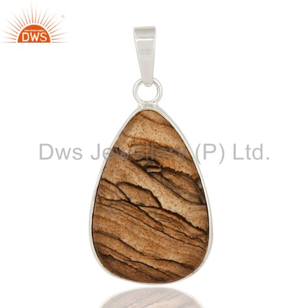 Natural Picture Jasper 925 Sterling Silver Gemstone Bezel Set Pendant Jewelry