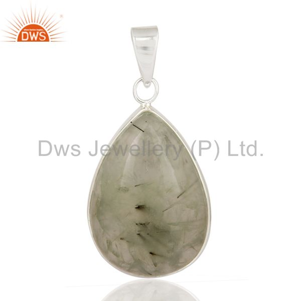 Natural Green Prehnite Gemstone Solid 925 Sterling Silver Bezel-Set Pendant
