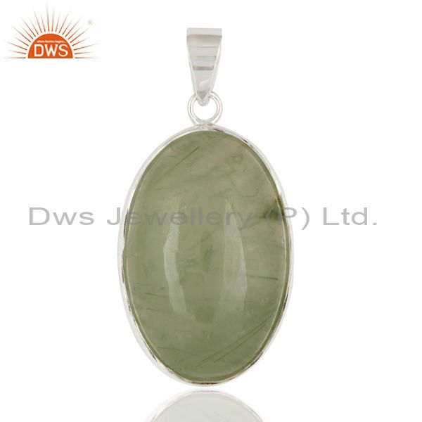 Natural Prehnite Bezel-Set Gemstone Pendant Handcrafted In Solid Sterling Silver