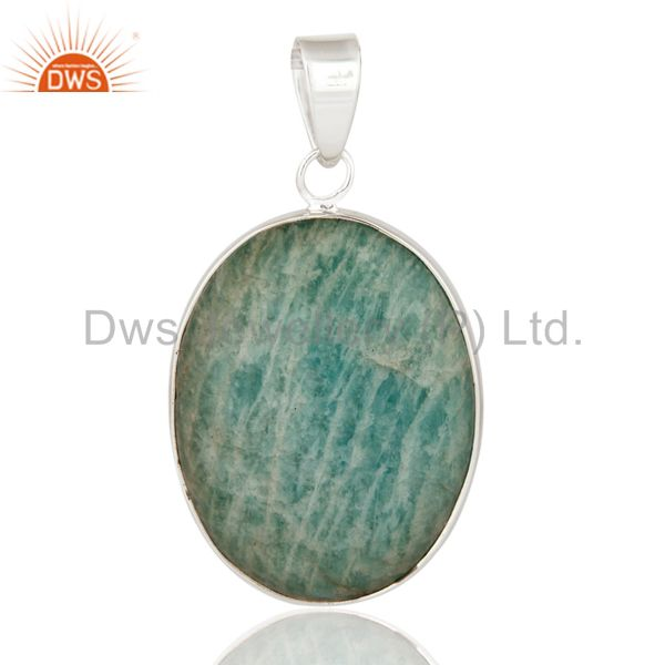 925 Sterling Silver Natural Amazonite Semi-Precious Gemstone Pendant