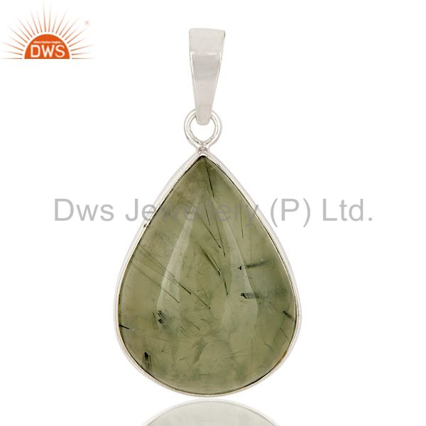 Solid Sterling Silver Natural Prehnite Gemstone Bezel Set Handmade Drop Pend