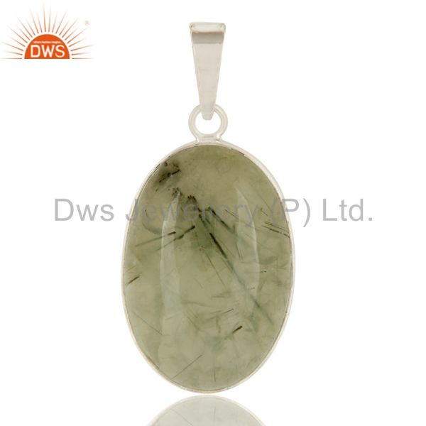 Natural Prehnite Gemstone Bezel Set Solid Sterling Silver Pendant