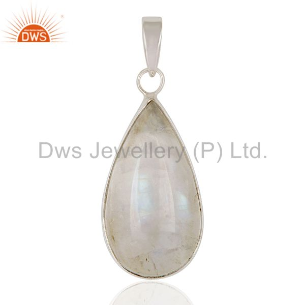 Natural Rainbow Moonstone Genuine Sterling Silver Handmade Pendant Jewelry