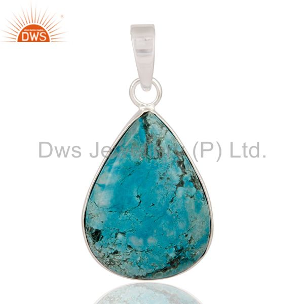 Natural turquoise gemstone pendant handcrafted solid 925 sterling silver pendant
