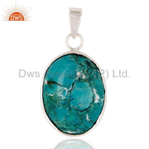 Solid Sterling Silver Genuine Turquoise Semi-Precious Stone Bezel-Set Pendant