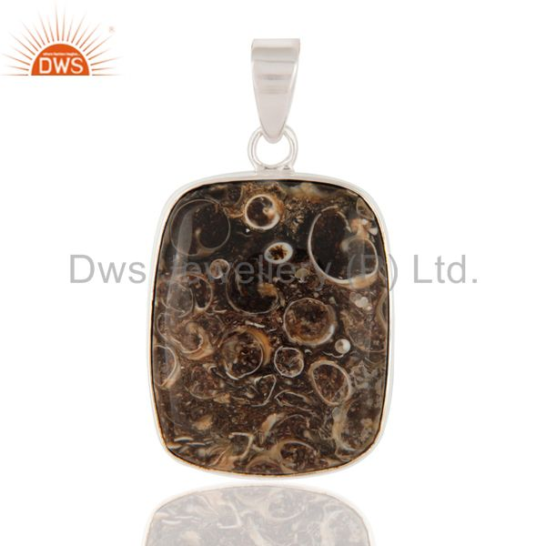 Natural Turritella Agate 925 Sterling Silver Bezel-Set Gemstone Pendant