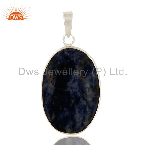 Natural Sodalite Gemstone Bezel Set Handmade Solid Sterling Silver Pendant