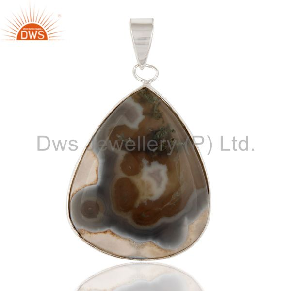 Handmade Bezel Set Ice Solar Quartz Gemstone Genuine 925 Sterling Silver Pendant