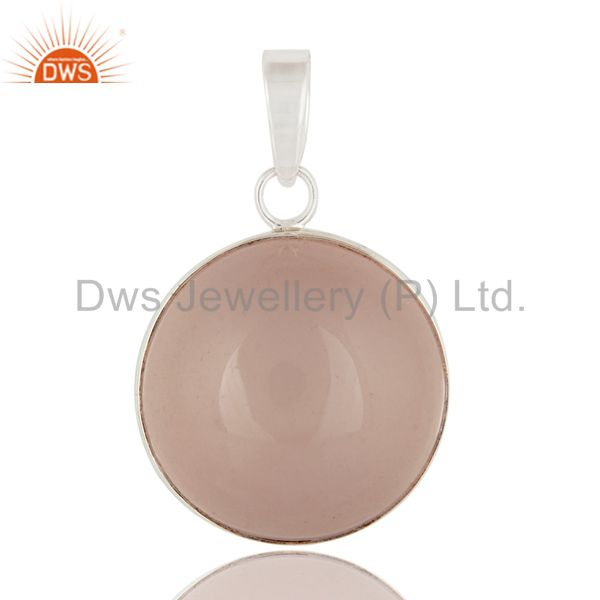 Genuine 925 sterling silver natural rose quartz gemstone handmade pendant
