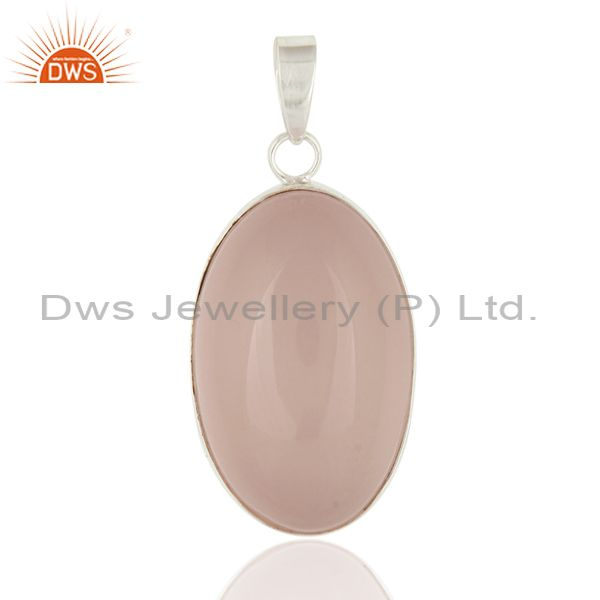 Natural Rose Quartz Gemstone Bezel-Set Solid Sterling Silver Pendant