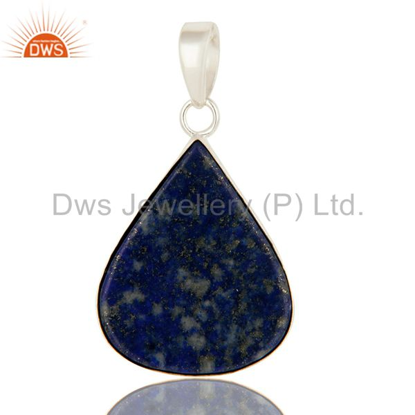 Natural Lapis Lazuli Gemstone Bezel Set Pendant In Sterling Silver