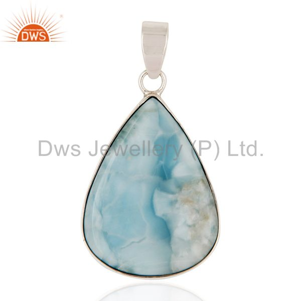 Natural Larimar Gemstone Genuine 925 Sterling Silver Handmade Pendant
