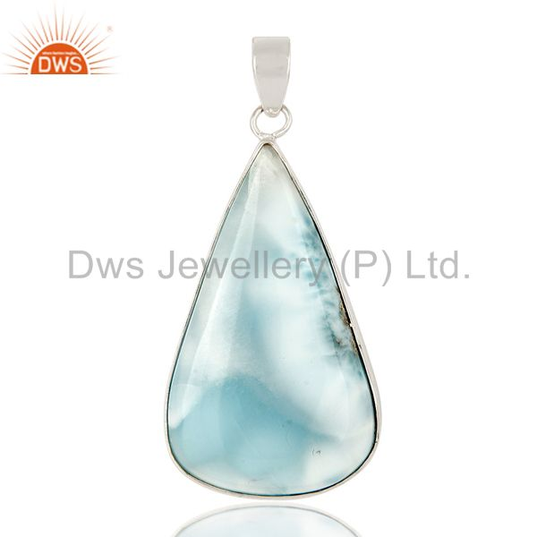 925 Sterling Silver Natural Larimar Gemstone Bezel Set Pendant Stunning Jewelry
