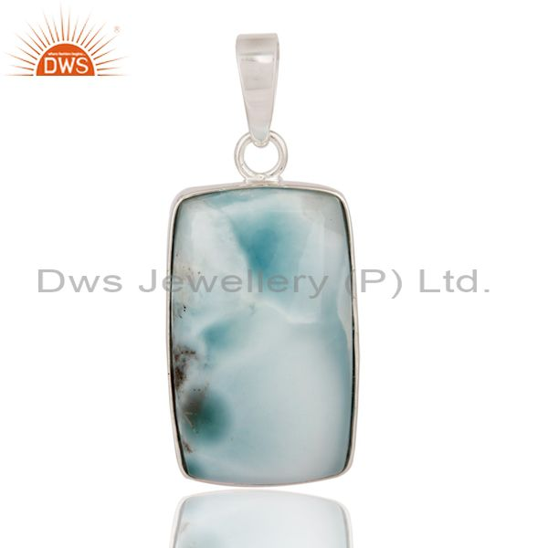 Natural Larimar Gemstone Pendant Solid 925 Sterling Silver Handmade Jewelry