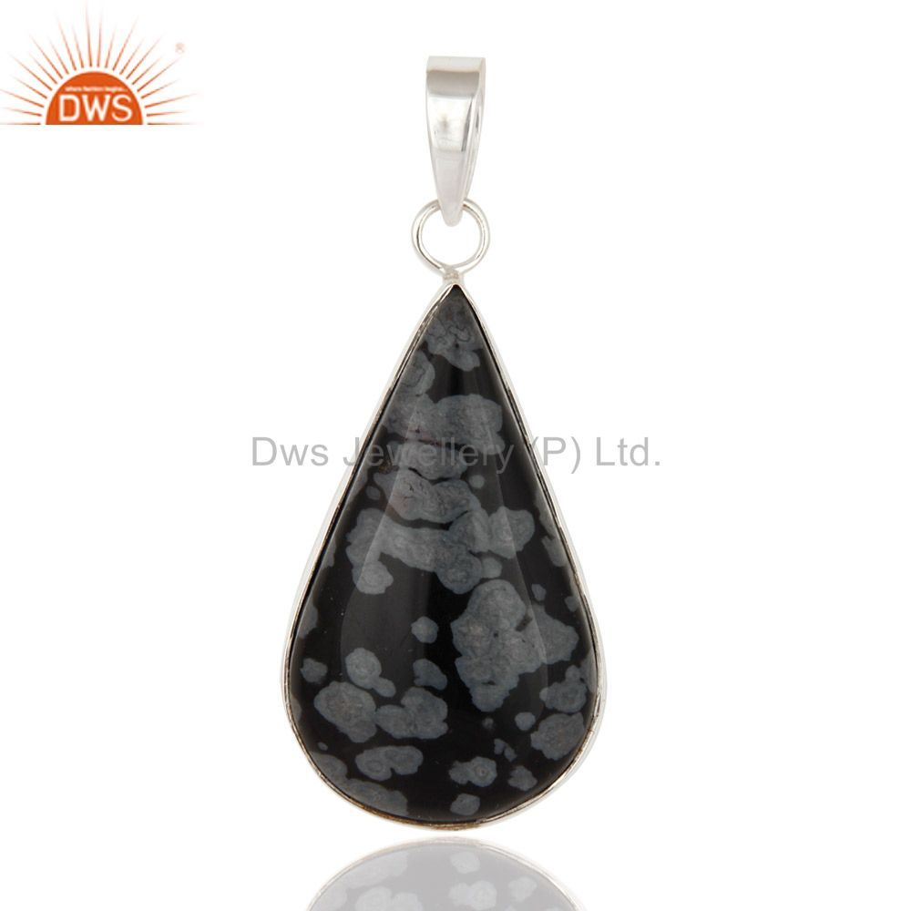 Solid 925 Sterling Silver Snowflake Obsidian Fine Gemstone Pendant Jewelry