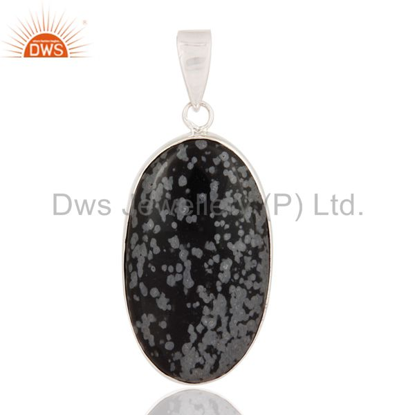 Natural Snowflake Obsidian Gemstone Genuine 925 Sterling Silver Pendant Jewelry