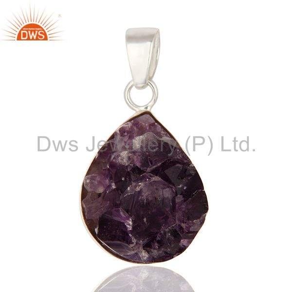 Handcrafted Natural Amethyst Druzy Geode Slice Pendant Made In Sterling Silver