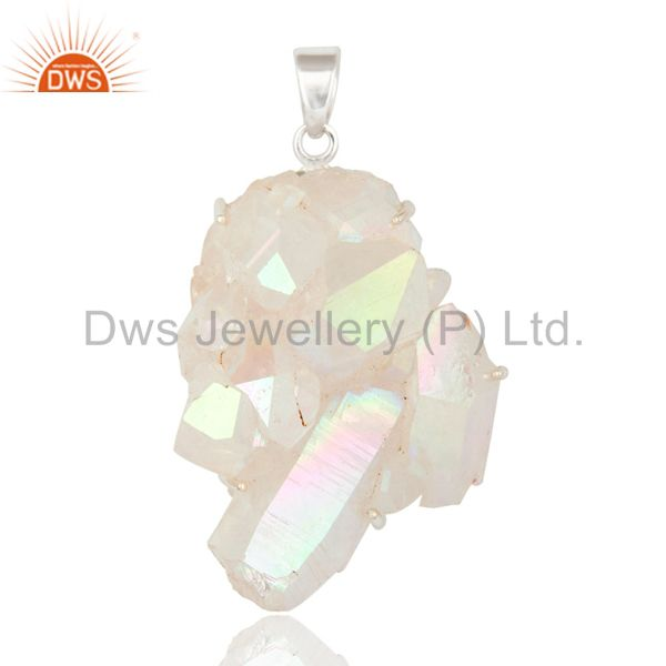 Handmade 925 Sterling Silver Natural Sunshine Titanium Druzy Prong Set Pendant