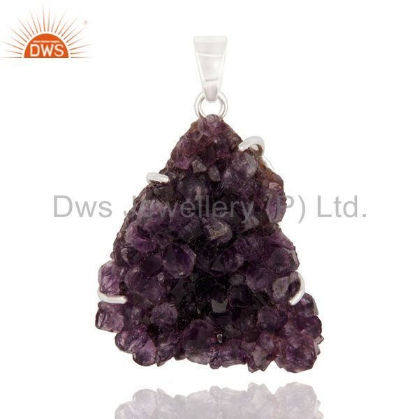 Natural Amethyst Druzy Cluster Solid 925 Sterling Silver Prong Set Pendant