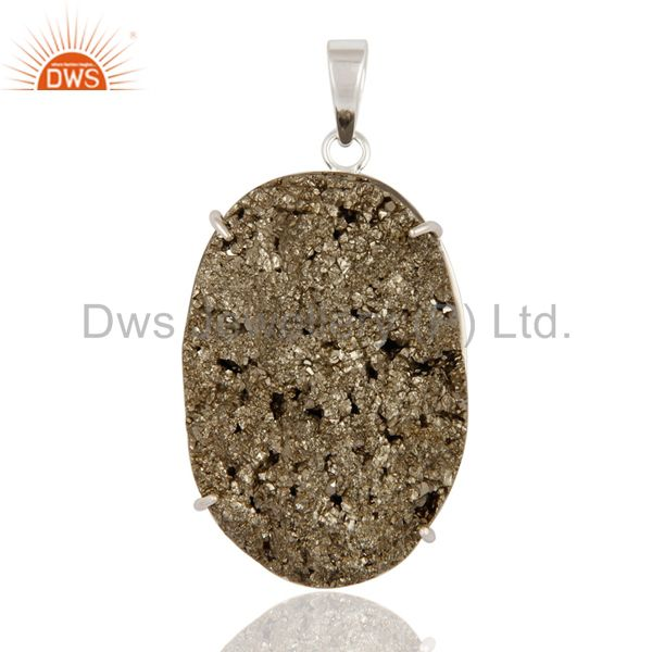 Handcrafted Solid 925 Sterling Silver Prong Setting Druzy Pyrite Pendant