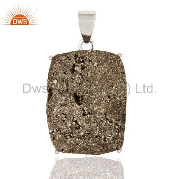 Handmade Natural Pyrite Druzy Gemstone Solid 925 Sterling Silver Pendant