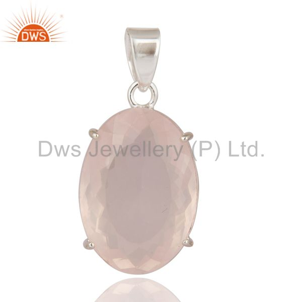 Handmade Faceted Rose Quartz Gemstone Prong Set 925 Sterling Silver Pendant