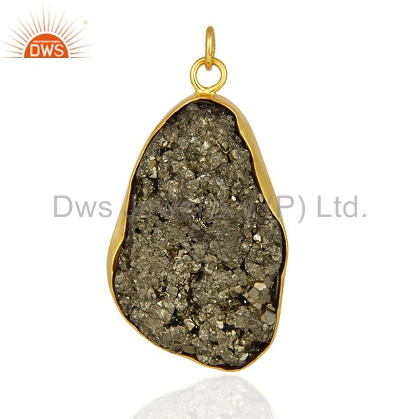 Gold Plated Sterling Silver Pyrite Druzy Pendant - Handmade Designer Jewelry