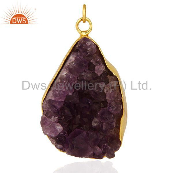 Handcrafted Sterling Silver Amethyst Drusy Pendant With Gold Plated Jewelry