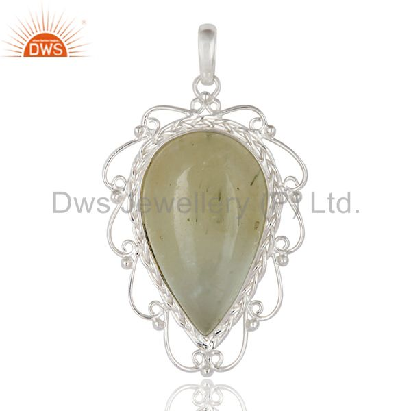 Handcrafted natural prehnite gemstone solid 925 sterling silver pendant