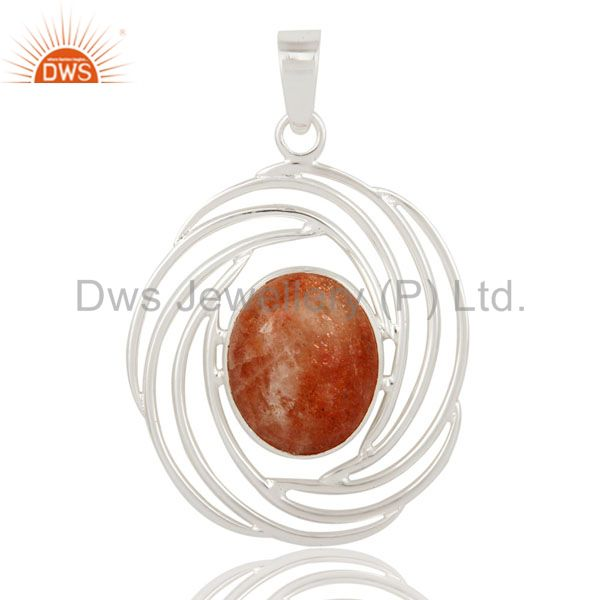 Womens 925 Sterling Silver Designer Pendant With Natural Sunstone