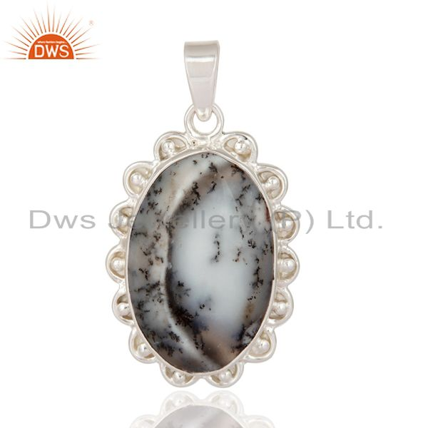 Natural Dendritic Opal Gemstone Solid 925 Sterling Silver Designer Pendant