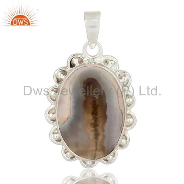 Solid 925 Sterling Silver Designer Pendant With White Solar Quartz