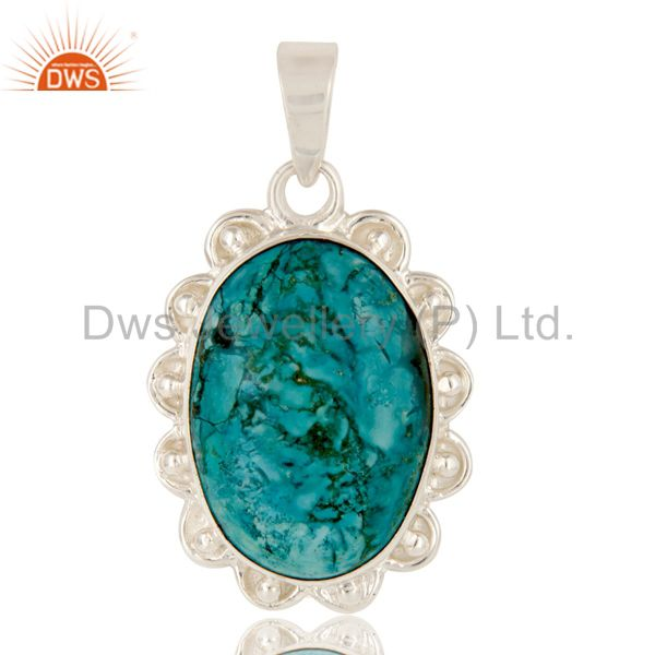 Handmade turquoise gemstone solid sterling silver pendant jewelry