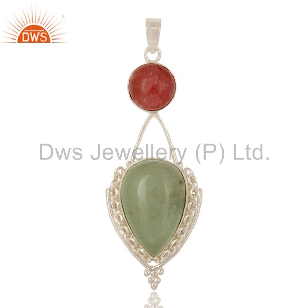 Handmade Natural Prehnite And Rhodochrosite Sterling Silver Gemstone Pendant