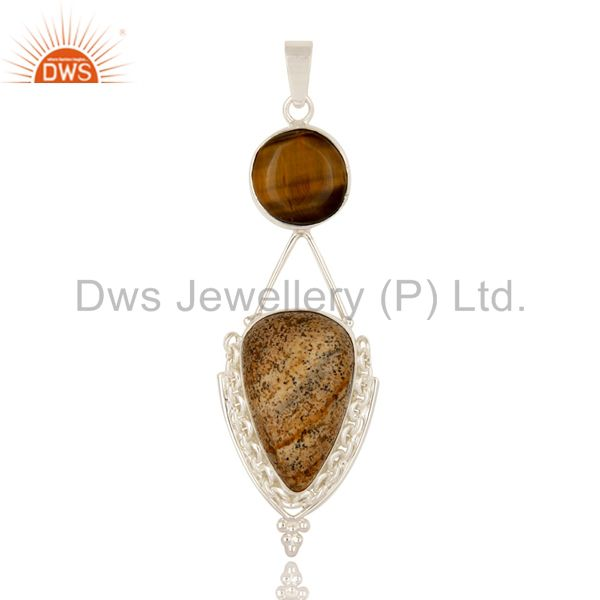 Handmade Sterling Silver Tiger Eye And Picture Jasper Gemstone Pendant