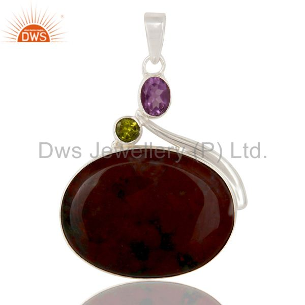 Blood stone, amethyst and peridot solid sterling silver handmade pendant