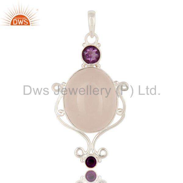 Handmade Solid Sterling Silver Rose Quartz And Amethyst Designer Pendant