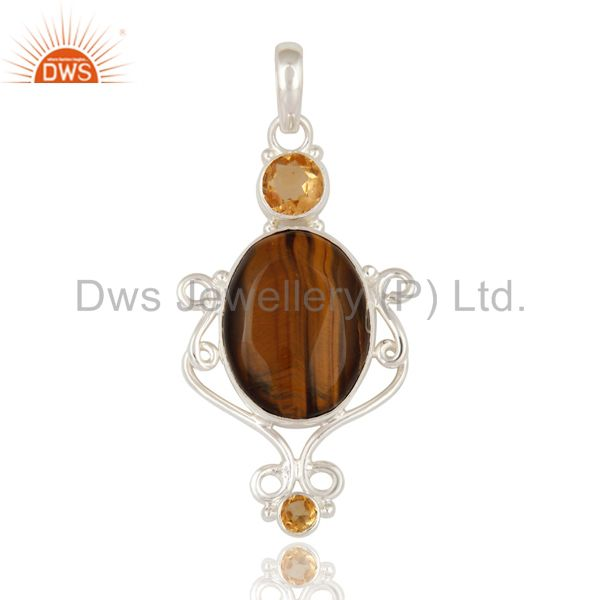 Natural citrine and tiger eye gemstone designer pendant made in 925 solid silver