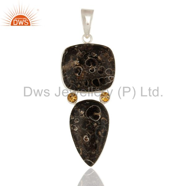 Sterling Silver Turritella Agate Handmade Pendant With Citrine Gemstone