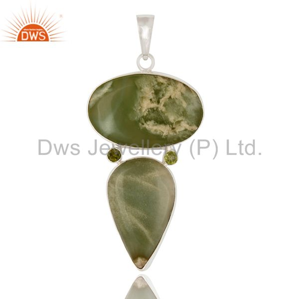 Natural Prehnite And Peridot 925 Sterling Silver Pendant - Fine Jewelry