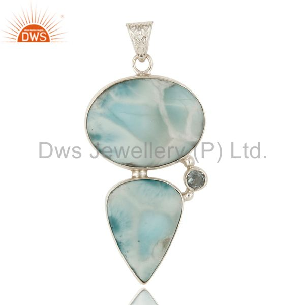 925 Sterling Silver Natural Larimar Gemstone Bezel Set Pendant With Topaz Blue