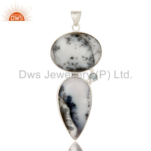 Handmade Dendritic Opal And Blue Topaz Gemstone Solid Sterling Silver Pendant